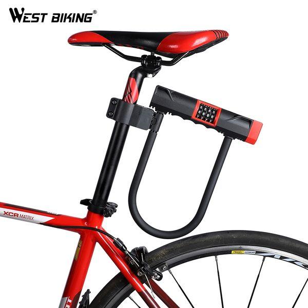 674e1bfdcf6f6 WEST BIKING Bicicleta Senha U Bloqueio de Aço MTB Estrada Bicicleta Moto  Anti-roubo Bloqueio Com Suporte de Segurança U Locks Para Ciclismo # 122520