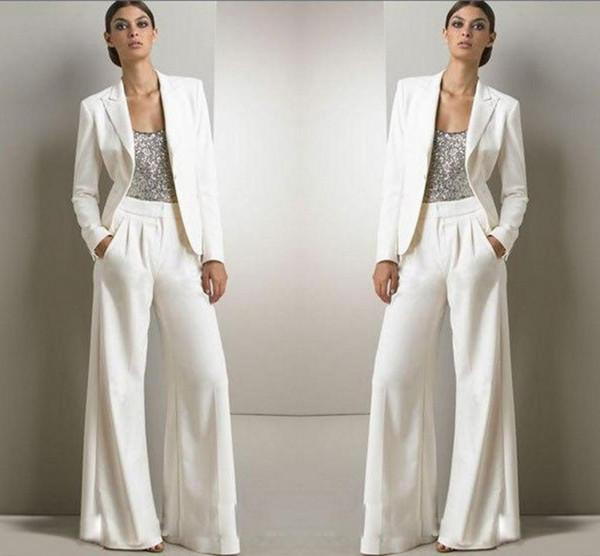 2020 Yeni Bling Pullarda Fildişi Beyaz Pantolon Suit Annesi gelin Biçimsel şifon Smokin Kadınlar Parti Giyim Moda Modest