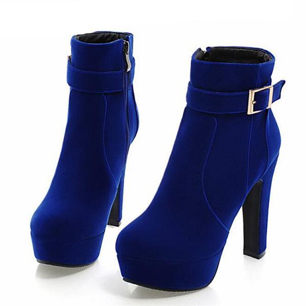 Yeni Bayan Ayakkabı Yüksek Topuklu Ayakkabılar Siyah Flock Kalın Topuk Botlar Moda Botlar