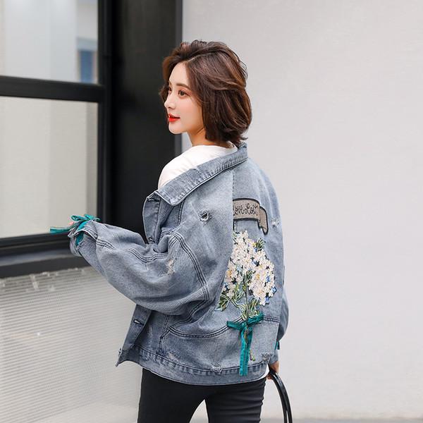 2019 Bf Harajuk Chaqueta de mezclilla suelta Mujer Bordado Jeans Abrigo Hip Hop Hole Chaqueta de jeans de un solo pecho Casual Chaqueta de mujer