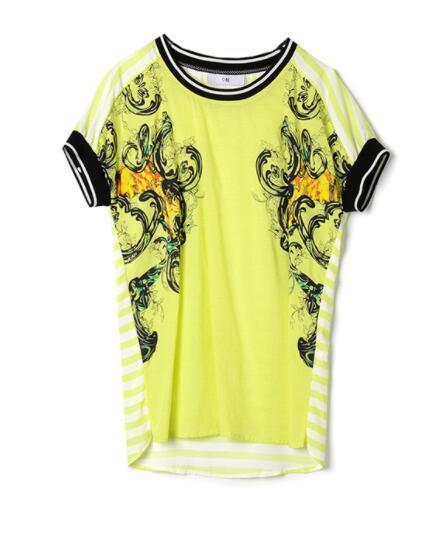 Brand genuine discount women's summer retro wind print ribbon stitching back stripe stitching shirt 03