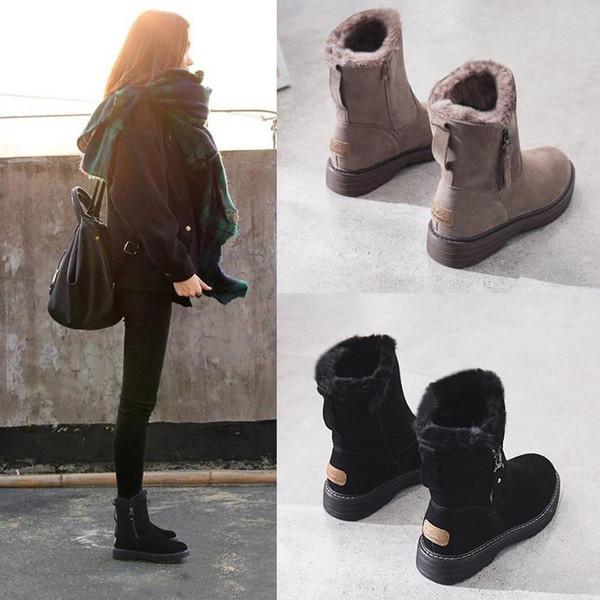 botas para la nieve de la piel una femeninos zapatos de invierno 2019 nueva moda de tamaño gruesas botas cortas Martin invierno, además de terciopelo acolchado zapatos mujer botas de 35-40