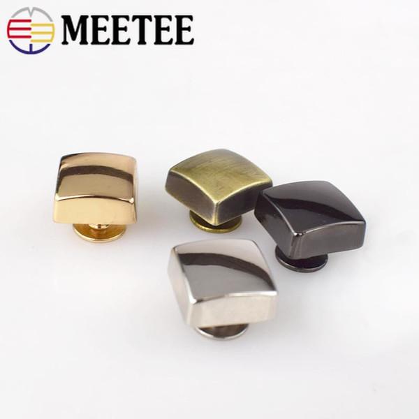 MEETEE wholesale 12x12mm Square Rivet Screw Bags Hardware Handbag Decorative Studs Button Nail Rivet Metal Buckles Snap Button