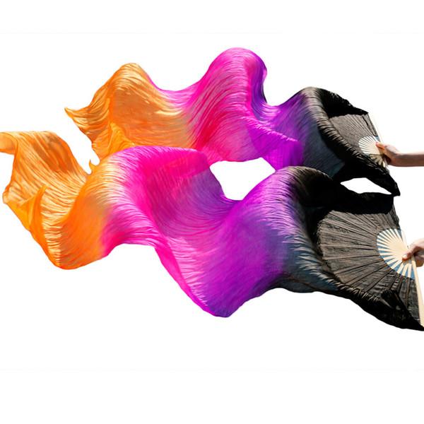 Ventilatori di danza del ventre in seta al 100% 1 paio di fan di danza del ventre in seta tinti a mano Puntelli di prestazioni nero + viola + rosa + arancio 180x90cm