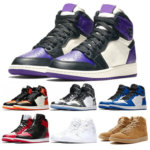 Fashion 1s Mens basketball shoes top Pine Green Court Purple Chicago OG 1 Game Royal Blue Backboard sports sneaker trainers