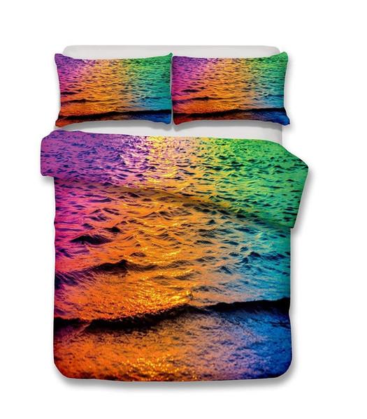 Beautiful Beach Scenery Series Colourful Sea 3D Bedding Set Print Duvet Cover Set Lifelike Bed Sheet