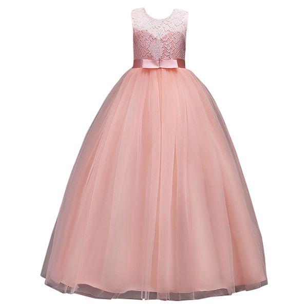 Princesse de Bourgogne dentelle robes fille fleur 2020 filles Tulle Pageant Robes première communion Robes Rose Belle enfants Robes de soirée MC0889