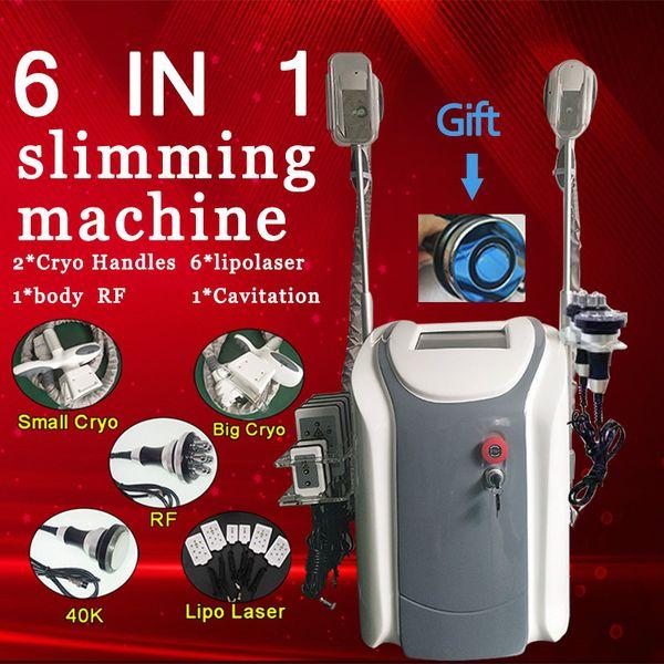 New !!! 6 in 1 multi functioni 2 handles could work togeth cryo lipolysis fat freeze machine diode lipo laser cavitation rf slimming machine
