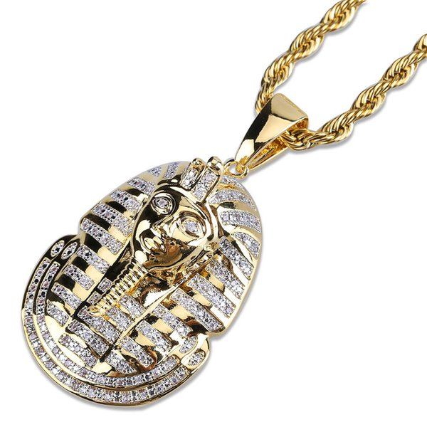 Luxury Egyptian Pharaoh Head Portrait Hip Hop Pendant Personalized Mens Necklace 18K Gold Plated Cubic Zircon Jewelry for Men Wholesale