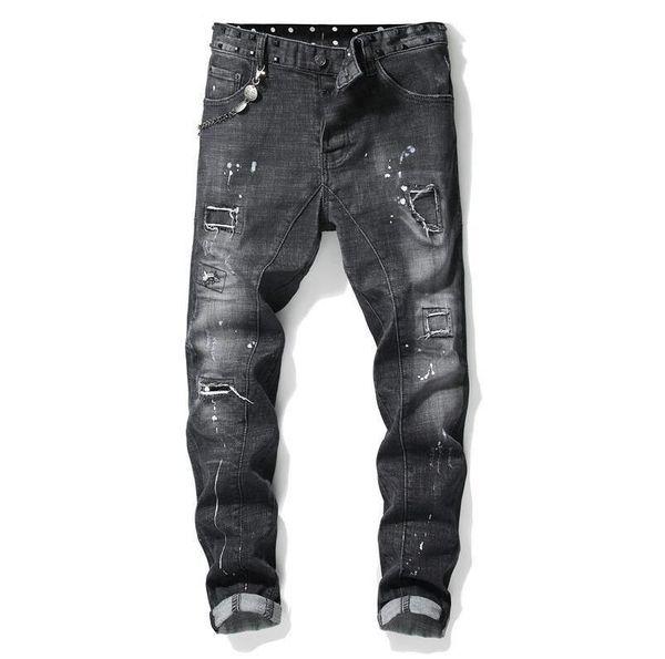 Unique Mens Painted Rips Stretch Black Jeans Fashion Designer Slim Fit Washed Motocycle Denim Pants Panelled Hip HOP Trousers
