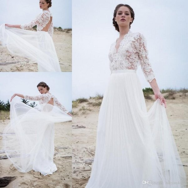 Simple A Line Wedding Dresses Illusion Lace Top 3/4 Long Sleeves V Neck Backless Modern Bohemian Summer Beach Boho Bridal Gowns