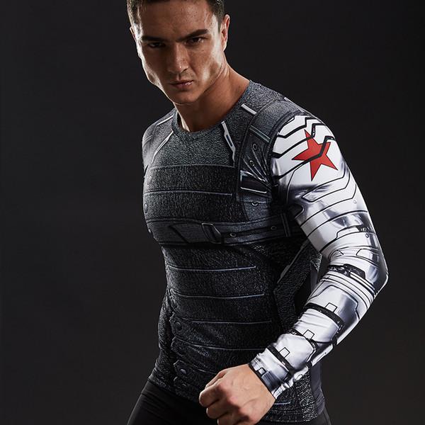 3D печатные футболки мужчины 2018 осень зима с длинным рукавом футболка фитнес мужской комиксы косплей костюм Quick Dry топы 2017