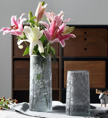 European creative transparent ice flower craft glass vase hydroponic lily rich bamboo flower vase living room vase decoration