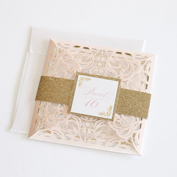 Blush And Gold Sweet 16 Invitations Laser Cut Glitter Invitation Sixteen Quinceanera Invites With Belt Tag Lilac Wedding