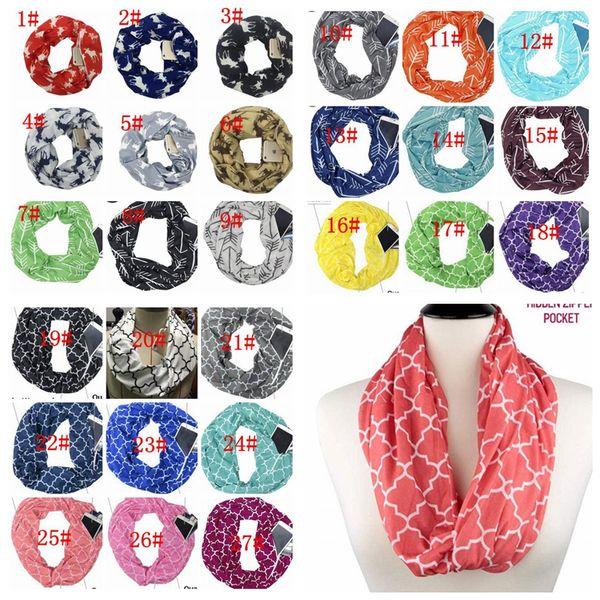 Women Infinity Scarves With Zipper Pocket Lightweight Arrow Star Elk Print Ring Scarves Storage Loop Scarf Xmas Gift KKA6341