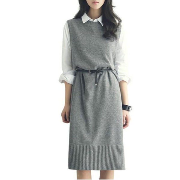 2018 Casual Long Vest Women Mid-long Sweater Sleeveless Dress Clothing Female Knitted Wool Round Neck Belt Vest Pullover Fashion