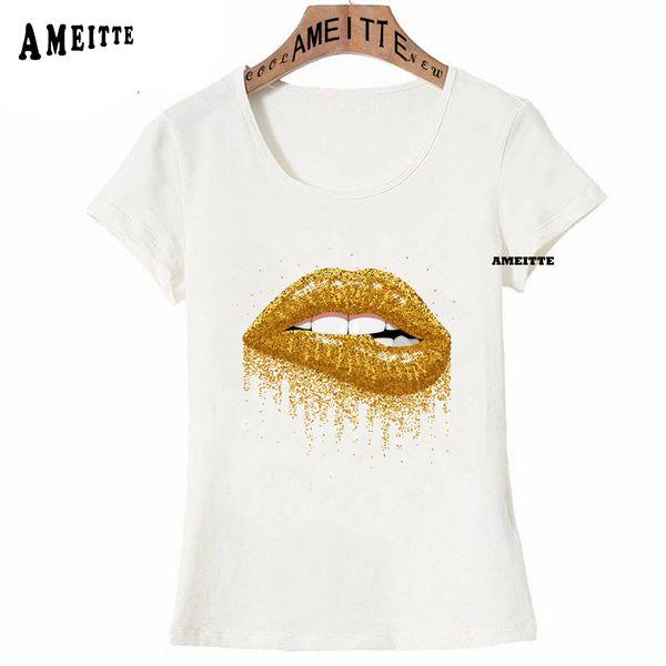 New Harajuku Make Up Aesthetics T-shirt Sexy Lips Gold Glitter Print Women T-Shirt Fashion Casual Couple Tops Girl Casual Tees