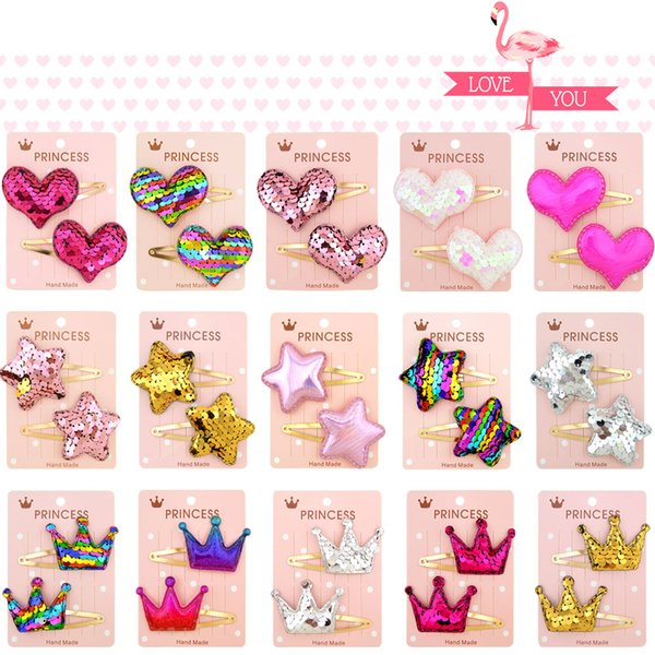 2Pcs/ Set 2.5 inch Love Crown Star Cartoon Mini Small Printing girls' Hair grips Sequin Baby Clips Kids Hairpin Accessories 035