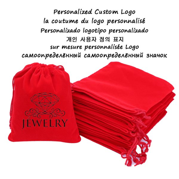 500pcs Personalized Custom Logo Velvet Jewellery Drawstring Bag Chic Wedding Favor Makeup Jewelry Gift Packaging Pouch Wholesale
