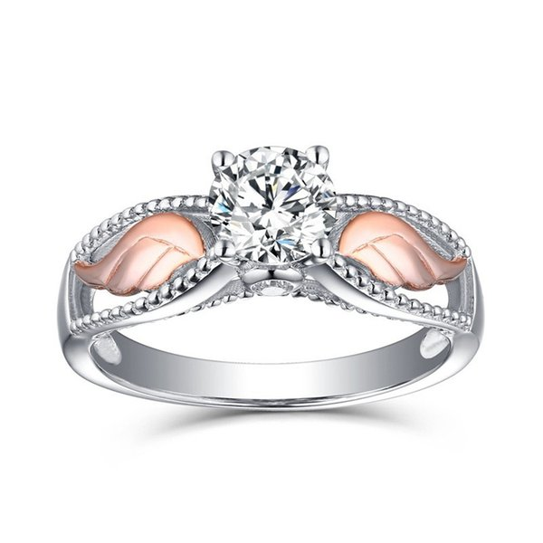 2019 New Fashion Designer Argent Rosegold Deux couleurs de ton Plaqué Angle ailes Bague en diamant Femmes fiançailles Cadeaux Bijoux anniversaire