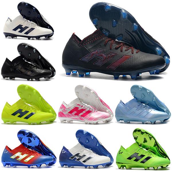 Nuevos Botas altas de fútbol para tobillo para hombre NEMEZIZ 18+ Sujetadores firmes Original NEMEZIZ Messi 18.1 FG Zapatos de fútbol para exteriores