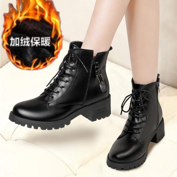 2019 Sonbahar Kış Boots Kadın Siyah Deri Sıcak Peluş Kadınlar Boots Kadın ayakkabı Retro Lace Up Platform Ayakkabı