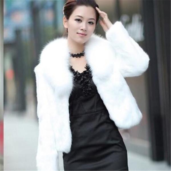 Winter Faux Fur Short Coat Black White Imitation Rabbit Fur Coat Jacket Long Sleeve Slim Fashion Plus size warm Coats 352