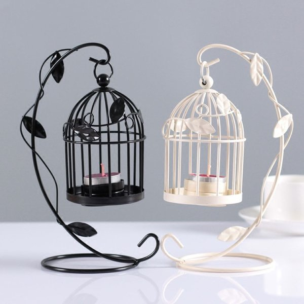 Hoja Birdcage sostenedor de vela de 2 colores del hierro de la vendimia Portacandelitas titular romántica de la boda de la palmatoria de escritorio Barn linterna Decoración
