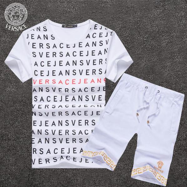 Été 2019 VERSACE Lettre shorts costume 2pcs ensemble T-shirt à manches courtes + shorts pantalons amour rose Tenues Survêtement Ensemble Survêtement Suit Sportswe