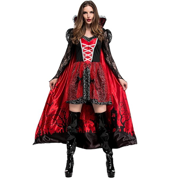 Abito Umorden Womens gotico vampiro Vampiress Temptress Costume Erzsebet Bathory Contessa di travestimento di Halloween Mardi Gras Partito