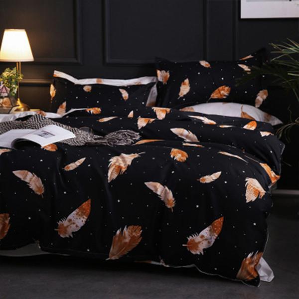 SJ 3/4pcs/Set AB Side Leaves Comforter Bedding Sets Cotton Duvet Cover Set Bed Linen Linings Home Textile