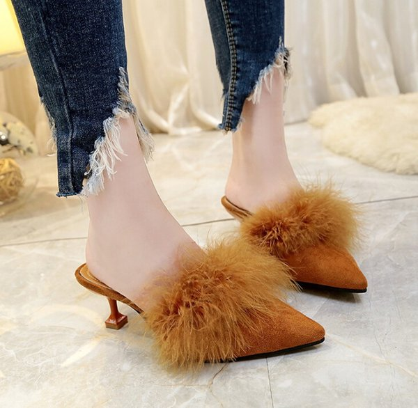 summer new european and american fashion women's sandals and slippers pointed stiletto women's fur decoration shoes