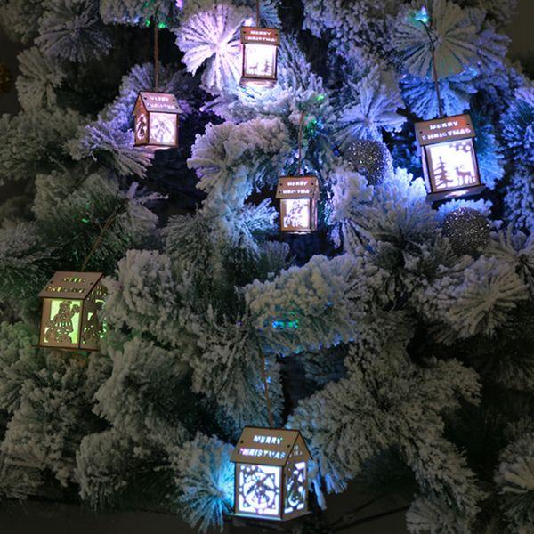 LED Lumière En Bois Arbre De Noël Suspendus Ornements Logement Maisons Home Décoration Luminescence Partie Intérieur