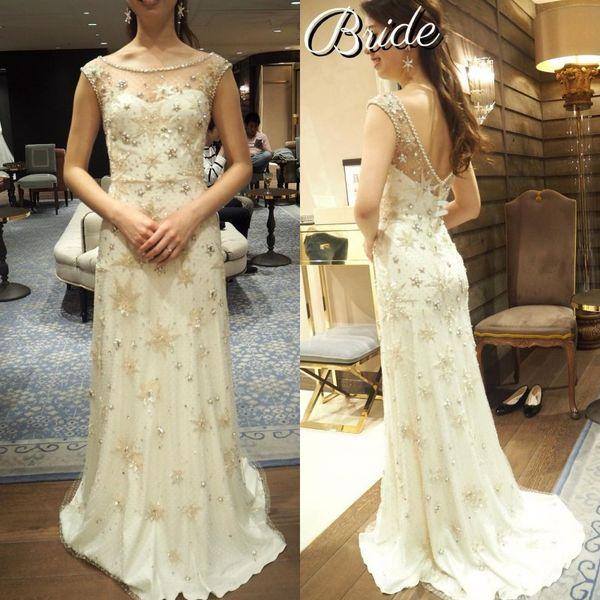 2019 Sheer Jewel Neck Vestidos de novia de perlas llenas Con cuentas Vestidos de novia Una línea de lentejuelas Vestidos de boda Vestido hecho a mano personalizado