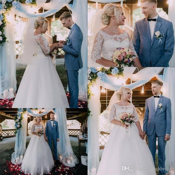 Vestidos de novia de tul Aline blanco clásico de talla grande Joya con medias mangas de encaje Vestido de noiva Vestidos de novia por encargo