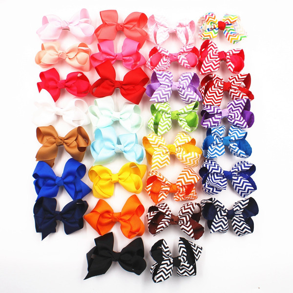 top popular Baby Stripe Bow Hairpins 3 Inch Girls Mini Designer Bowknot Hair Clips Children Cute Barrettes Kids Party Travel Hair Accessories TTA909 2019