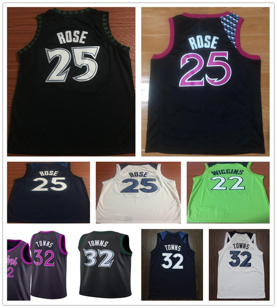 finest selection 1dbed 1b326 2018 2019 New Purple City Edition 25 Derrick Rose Jersey Black Green White  22 Andrew Wiggins 32 Karl Anthony Towns Jerseys Stitched Shirts From ...