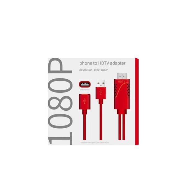 IPhone HDMI Kablo Adaptörü Dönüştürücü Dijital AV USB HDMI 1080 P HDTV Kablosu Samsung LG Google