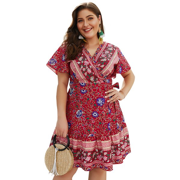 Plus Size Wrap Mini Dresses Belted Empire Waist Tropical Boho Dresses For  Women Print Floral Beach Dress Dressing Styles For Ladies Purple Floral  Maxi ...
