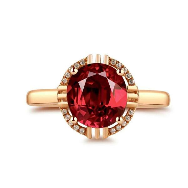 Brazil natural red tourmaline ring 18K rose gold engraved ruby elegant ring for lady colored gem