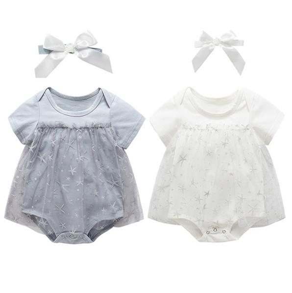 INS bébé enfants barboteuse bébé filles dentelle gaze étoiles robe de broderie combinaisons + ruban lacets arceaux bandeaux 2pcs ensembles F8551