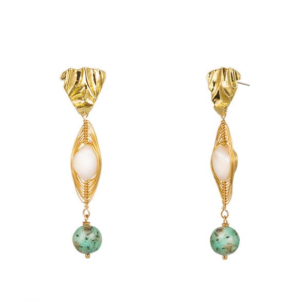 Natural Pearl Shell Earrings Creative Geometric Stone Ear Hook Alloy Baroque Freshwater Fresh Water Pearl Earrings Women Fashion Accessories