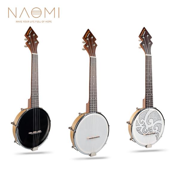 top popular NAOMI 26 Inch Banjolele Sidekick Tenor Banjo 3 Styles Pattern Design W Gig Bag +Tuner + Strap 2021