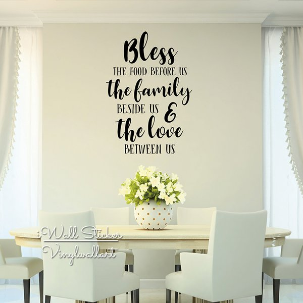 Bless The Food Quote Wall Sticker, Quotes Stickers Muraux, Wall Stickers  Home Decor Living Room, Dining Room Lettering Wall Decal Q284 Vinyl Wall ...