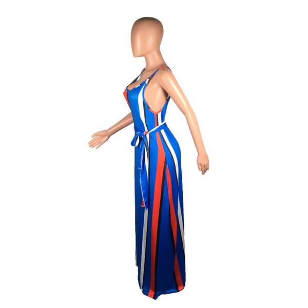 Vertical Striped Sexy Boho Dress Women Spaghetti Strap Sleeveless Beach Long Dress Summer O Neck Backless Maxi With Scarf