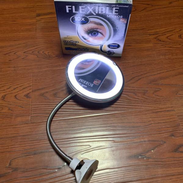 10X التكبير ماكياج مرآة LED الالتصاق مع معقوفة تطول خرطوم مياه معدنية 360 درجة دوران الاتفاق مرايا GGA2687
