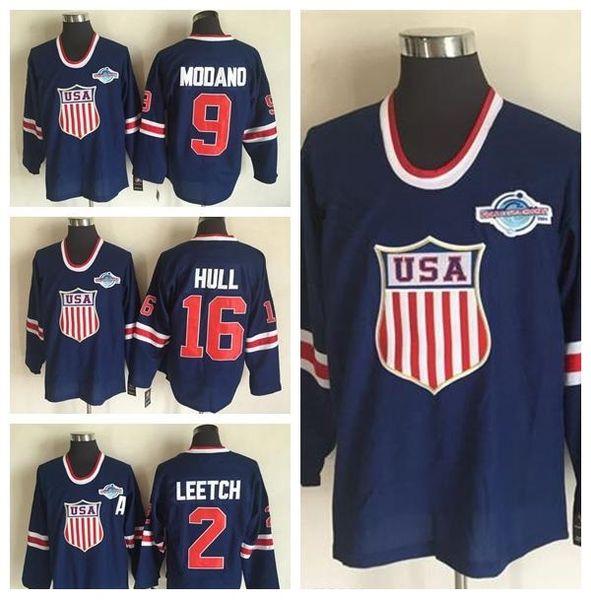 2002 Team USA Hockey maglie OLYMPIC Blue Ice 16 Brett Hull 2 Brian Leetch 9 Mike Modano Jersey Uomini traspirante Cuciture di qualità