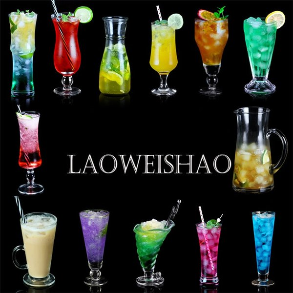 Characteristi Dessert Beverage Milkshake Cups Creative Transparent Milk Tea Cups Sand Ice Fruit Juice Cup Cocktail Cup wine glass 4986