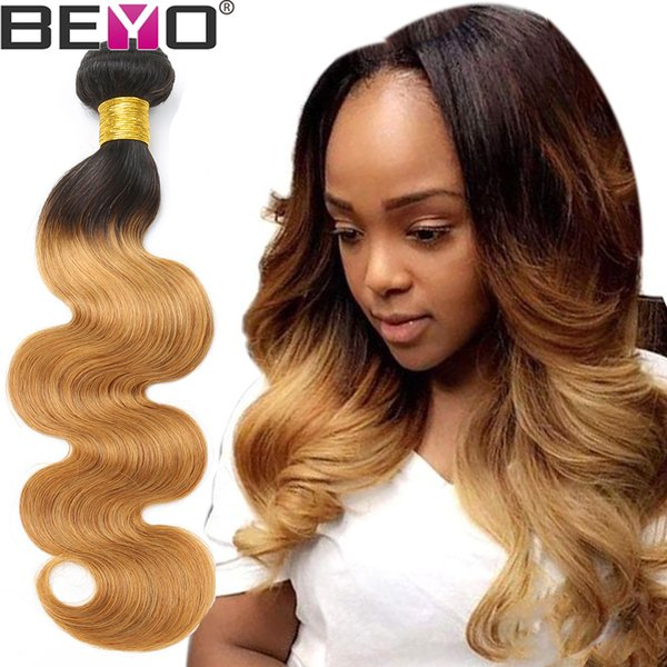 Ombre Body Wave Bundles Bundles mongoli per capelli umani # 1b / 27 Color 3 Bundle Deals 10a Grade Virgin Hair Remy Beyo