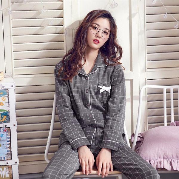 Women Pajamas Set Black Grey Plaid Pajamas Men Long Sleeve Korean Harajuku Lover Sleepwear Nighty Female Casual Homewear